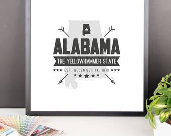 ALABAMA State Badge Print, Alabama Poster, Alabama Wall Art, Alabama Art, Alabama Gift, Alabama Decor, Alabama Print, Alabama Map, Art, Map