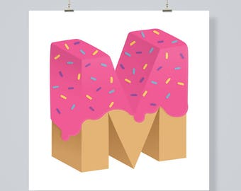 Letter M, pink doughnut, digital download print poster