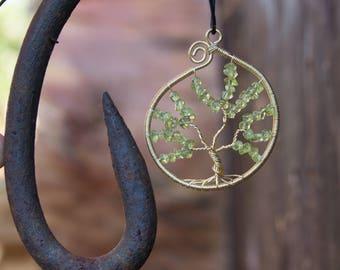 Peridot Tree of Life Pendant - Yggdrasil Pedant - Peridot Yggdrasil - Viking - Norse - Gemstone Tree of Life -Protective Stone- Peridot