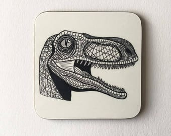 Limited Edition Velociraptor Ink Drawing Coaster
