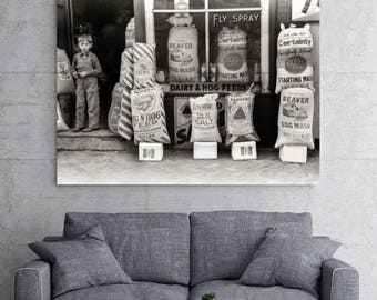 Des Moines Iowa, Photo, Feed and Seed Store, Grain Sacks, Black and White Photograph, Art Print, Old Iowa Photo, Country Art