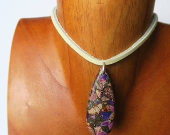 Purple Sea Sediment Jasper with Pyrite on Leather and Sterling Silver - Choker