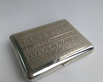 Silver cigarette case  Cigarette case Vintage Soviet Cigarette Case Metal card holder USSR Cigarette Box  Card Holder Metal Wallet Metal box