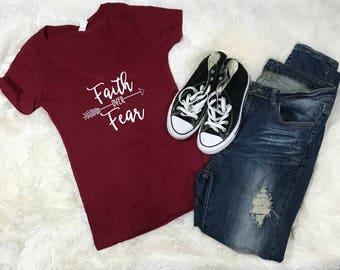 Faith Over Fear, Womans T-Shirt, Casual, Faith, Fear, TShirt, Womans Clothing