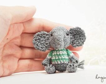 Lovely miniature Elephant crochet , Tiny Crocheted Elephant , Amigurumi Elephant, Made To Order