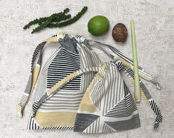 Kit 2 smallbags white thick cotton yellow beige and black - reusable cotton bag - zero waste