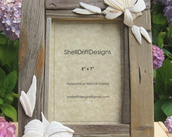 """5"""" x 7"""" Handcrafted Driftwood and Shell Picture Frame"""