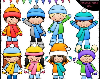 More Winter Kids Clip Art and B&W Set