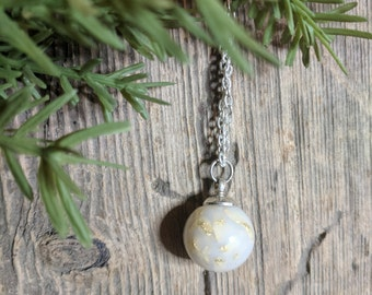 Glass breastmilk bead necklace