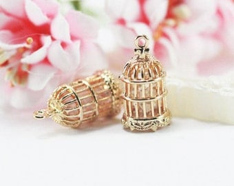 11x20mm 14k Gold plated bird cage pendant charm