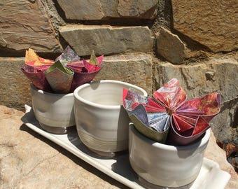 Ceramic planter pot and tray set
