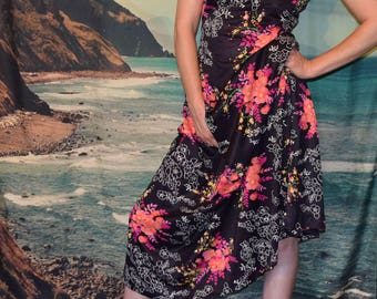 Vintage 70's floral maxi dress Sz Med