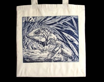 Iguana, original drawing, engraving etching on fabric, unbleached cotton bag, shopping bag, beach tote bag, man, woman