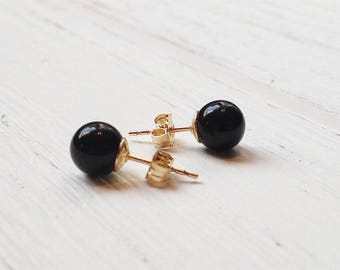 Onyx Earrings • Stud Earrings • Black Onyx • 14K Gold Studs • Gemstone Studs • Black and Gold • Black Onyx Studs • Earrings Gifts Ideas