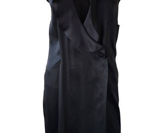 CHARLES JOURDAN Vintage Black Sleeveless Silk Wrap Dress (UK 14)