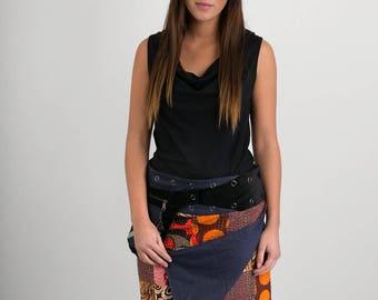 Reversible Cotton Skirt Denim Patch Print Black Velvetl Detachable Pocket Medium Length