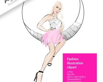 FASHION ILLUSTRATION CLIPART, sketch girls, chic clipart, girl clipart, stickers, party clipart, blond hair clipart, dress clipart, digital