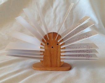Wooden Hedgehog Desktop Card Holder
