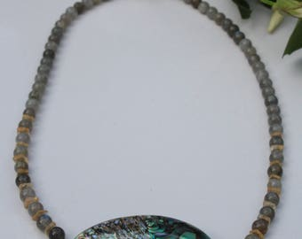 Abalone shell with Labradorite and Citrine genuine gem stones necklace
