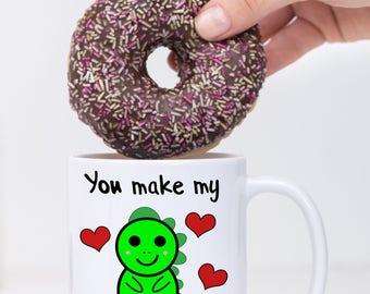 You Make My Heart Saur Mug, You Make My Heart Sore Mug, Dinosaur Mug, Valentine's Day Gift, Couple's Gift, Love Mug, Cute Dinosaur Mug