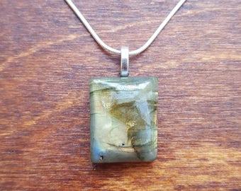 Labradorite silver necklace - gemstone necklace - birthstone necklace - gift necklace - birthday present - flashy labradorite - pendant - 10