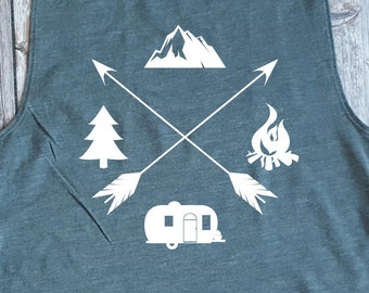 Camping, Outdoors, Campfire, Camper, Arrows T-Shirt Design