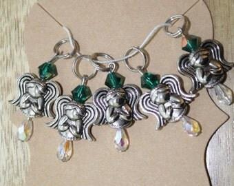 Emerald Angels Stitch Markers