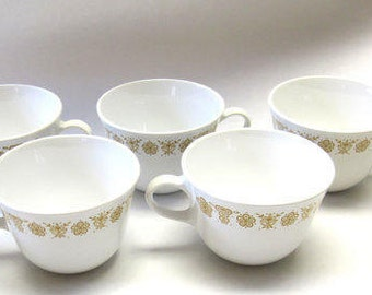 6, Cups, Corelle, Butterfly Gold, Livingware, Pyrex, Vintage, Mugs, Cottage Chic, Gift for Her, Gift for Him, Gift, Home Décor, Retro Dishes