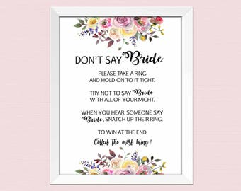 Dont say Bride, bridal shower ring game, bridal shower games printable, Watercolor Floral Bridal Shower Game flower INSTANT DOWNLOAD pdf BL2