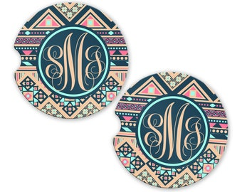 Personalized Monogrammed Car Coasters Aztec Tribal Tan , Cup Holder Coaster, Monogram Gift, Gift for Her Sandstone Coaster