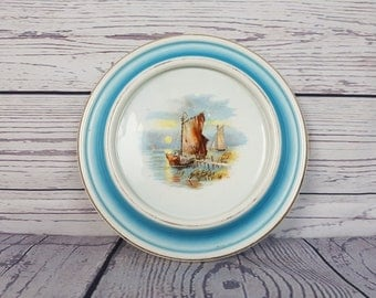 Antique Collectible Decorative Plate / Royal Baby Plate 1906 / Blue Nautical Decor / Baby Gift Shabby Chic Decor Blue Double Gold Band