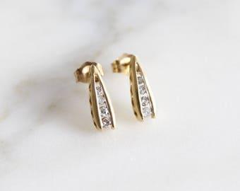 Dainty Pea Pod Diamond Earrings