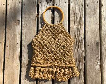 Vintage Woven Rope Knotted Large Bag