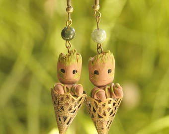 Inspired Groot Branches short or long earrings