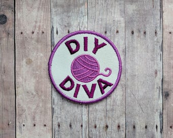 DIY Diva Patch, Crafty Merit Badge, Embroidered White Canvas with Purple Yarn Ball and Purple Text, Choice of Finding, Made in USA