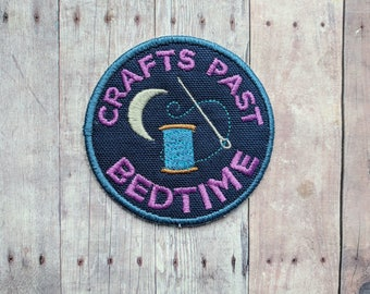 Crafts Past Bedtime Patch, Crafty Merit Badge, Embroidered Navy Canvas with Needle, Thread, Moon, and Purple Text, Choice of Finding
