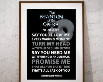 FREE SHIPPING, Andrew Lloyd Webber, Phantom of the Opera, Song Lyrics Print, Quote Art Print, Large Music Poster, Musical Poster, Broadway