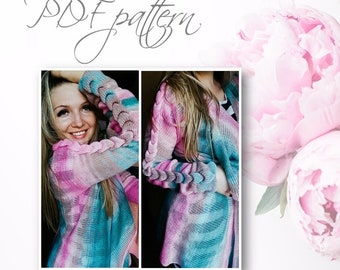 Perfect cardigan for cute girl or women, very easy pattern, knittting by the knitting machine