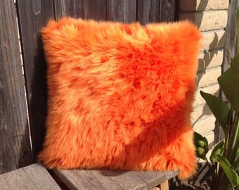 Faux Fur Pillow with insert and cover, faux fur, orange fur pillow, fluffy colorful faux fur pillow, handmade pillow, faux fur decor
