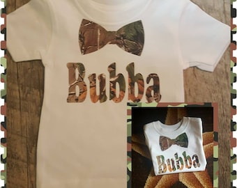Monogrammed With Childs Name, Green or Pink Camo for Girl or Boy, Onesie or Tee (Bowtie for Boy and Bow for Girl)