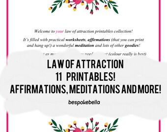 LAW OF ATTRACTION printables - affirmations manifestation planner meditation journal affirmation dreams visualization dreams A4 A5 Letter