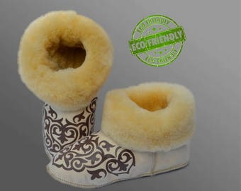 Unique Sheepskin Slippers, Natural Merino Sheepskin Shoes for Men Women with Beautiful Pattern, Warming Gift For Him and Her