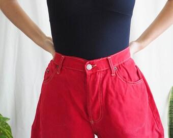 vintage high waisted red denim cotton shorts