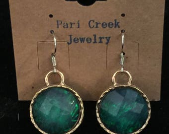 Iridescent Green Earrings