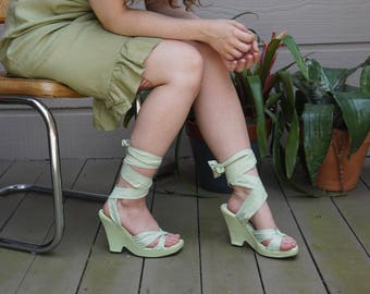 Lime Green Tie Up Wedges / US 6.5 / 7 / UK 4.5