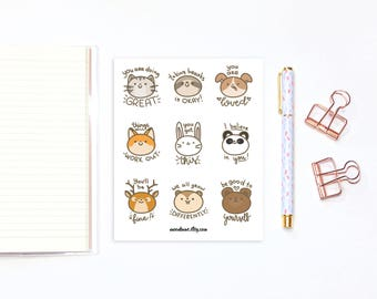 Self care stickers - 9 cute animal stickers with self-care motivational quotes, planner stickers, bullet journal stickers, decorative