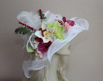 Kentucky Derby Hat, Derby Hat, White Organza Hat, Women's Fashion Hat, Easter Hat, Royal Ascot, Tea Party Hat, Orchid, Wedding Hat, Church