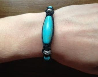 Turquoise and Hemp Bracelet with Silver accent beads