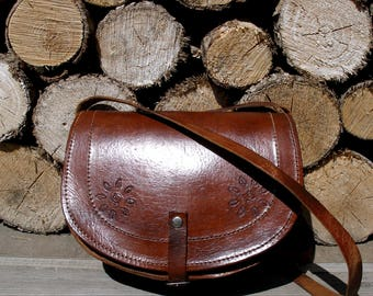 Hand tooled leather bag, small leather bag, tooled leather purse, tooled leather bag, brown leather bag, brown tooled purse