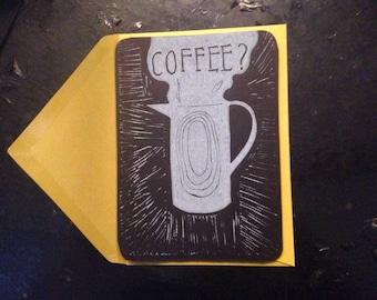 Lino printed card, coffee, blackboard